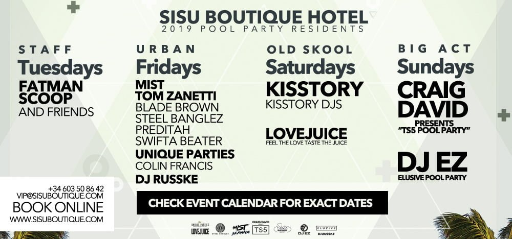 Sisu BOutique Hotel Pool Parties 2019